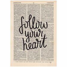 Suivez votre cœur Dictionnaire Imprimer Unique, ART, Inspirant Citation