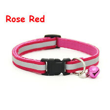1pc Adjustable Stripe Neck Chain Pet Collar Nylon Fabric Strap Buckle Reflective Rose Red