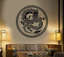Vinyl Wall Decal Chinese Art Dragon Ornament Asian Style Stickers (1373ig)