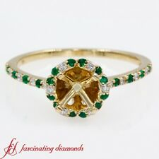Round Cut Diamond Halo Style Semi Mount Engagement Ring In Yellow Gold 0.35 Ctw.