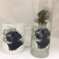 BLACK LABRADOR MUG AND MATCHING TALL HIGHBALL GLASS