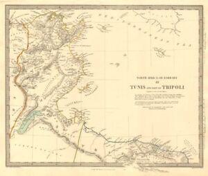 NORTH AFRICA OR BARBARY III. Tunis & Part of Tripoli Tunisia Libya SDUK 1846 map