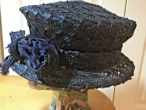 Meril Vintage Dark Navy Blue Straw Hat Wide Braided Brim 1950's Hat