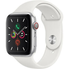 Apple Watch Series 5 44mm Silver Alum Case, White Sport Band (Cellular Unlocked)