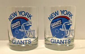 NEW Set of 2 NY GIANTS 1987 SUPERBOWL XXI ROSE BOWL PASADENA COCKTAIL GLASSES