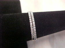 *ESTATE*2-PAVE SET DIAMOND WEDDING BANDS 14K WHITE GOLD sz9    **BUY NOW PRICE**