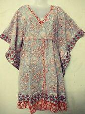 Cotton Hand Block Print Night wear Short Maxi Ethnic Top Kaftan Swim Cover Tunic