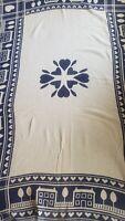 Goodwin Weavers 100% Cotton Blue Beige Throw Blanket w/Fringe  50 x 75 Vintage