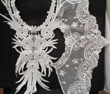 A Job lot 2 pieces lace appliques sewing lace collar motifs with defect