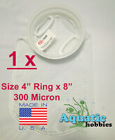 """1x Filter Sock 4"""" Ring x 8"""" 300 Micron Mesh Polyester High Quality Aquarium Bag"""