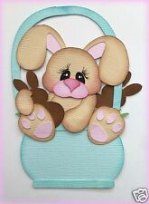 BUNNY IN BASKET WITH EGGS EASTER PAPER PIECING PREMADE  MY TEAR BEARS KIRA