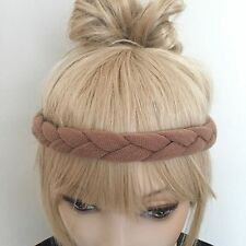 Pink wool mix braided knitted festival headband boho hipster hair band yoga