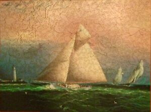 """LIBERTY Wood Puzzle  """"Yacht Race off Boston Light""""  1880  James Buttersworth"""