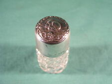 Antique Cut Glass Perfume Scent Bottle with Silver lid Birmingham 1903