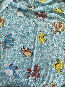 Vintage 1998 POKEMON Twin Fitted Bed Sheet Nintendo Pikachu 90s USA Made