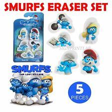 SMURFS ERASER SET 5 PCS NEW DESIGNS BACK TO SCHOOL GIFT PARTY FAVOURS BAG FILLER
