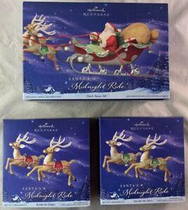 NIB Hallmark Keepsake Christmas Ornament LOT Santa's Midnight Ride + Reindeers