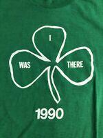 Vintage 1990  Irish Clovers Thin Soft Made in USA Men's XL Shirt Green Marathon