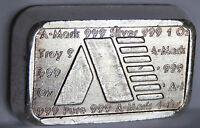 .999 FINE SILVER A MARK STACKER BRICK BAR A 163 S U.S. VIRGIN ISLANDS 1 TROY OZ