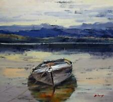 paysage marin bateaux tableau peinture huile sur toile