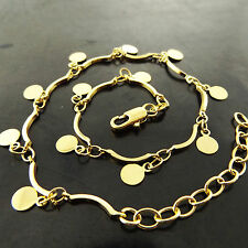 ANKLET GENUINE REAL 18K YELLOW G/F GOLD SOLID LADIES MEDAL CHARM DESIGN 25CM
