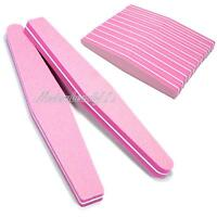 10 Pcs Nail Art Sanding File Block Sponge Grit Manicure Tools #100 / 180 Pink