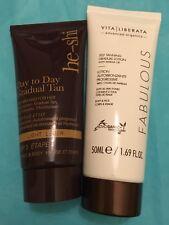 He-Shi & Vita Liberata Tanning Gel Face & Body 50ml each (100ml) SEALED Fake Tan