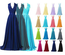Plus Size Long Lace Prom Evening Bridesmaid dresses V neck Formal Party Gowns