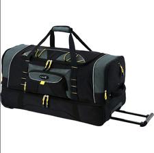Travel Duffle Bag 36 Inch 2-Section Rolling Blade Wheels Jumbo Black Gym Bag