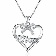 European 925 Jewelry Bow-knot & MOM Silver Charms Pendant Fit Sterling Necklace