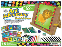 Childrens 52 Pc Art Adventure Sketch & Draw Colouring Set Easel Pencils  AVS552