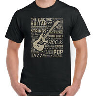 Guitar Text Mens Funny Guitarist T-Shirt Electric Acoustic Bass Amp Rock Music