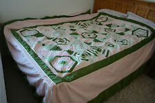 Amazing Beautiful Pleated Quilted Double Bed Spread Cover Reversible Handmade