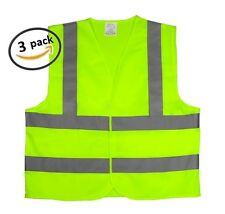 3PK HIGH VISIBILITY SAFETY VEST REFLECTIVE STRIPS YELLOW NEON ANSI / ISEA LARGE