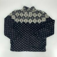 Talbots Womens Fleece Jacket SIze MP Medium Petite Black Snowflake Fair Isle C9