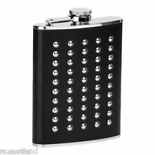 Hip Flask 8oz Stainless Steel Studded Black Leather Effect