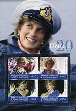 Grenadines Grenada 2017 MNH Princess Diana 20th Memorial 4v M/S I Royalty Stamps