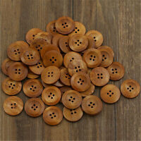 Lot 50 Pcs Wooden 4 Hole Round Wood Sewing Buttons DIY Craft Scrapbooking 25mm