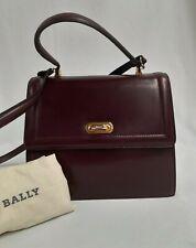 BALLY bag burgundy leather top handle & cross body bag 25x22x10cm with dust bag