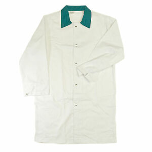 Heavy Duty White Butcher Coat With Green Collar