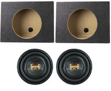 """2) Boss D10F 10"""" 1600W Shallow Car Audio Subwoofers + 2) 10"""" Single Sealed Boxes"""
