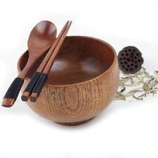 Wood Bowl Retro Style Small Wooden Bowl Chopsticks Spoon Set Kitchen Dining