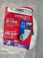 Charlotte Pipe & Found CTT 300 1200HA Bend Elbow,  3 Inches Dia., PVC, White