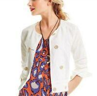 Cabi Womens Size Medium Piazza Linen Blend Button Down Jacket White Lightweight