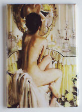 Nude Woman at Mirror FRIDGE MAGNET (2 x 3 inches) painting