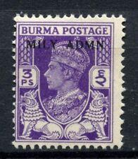 Burma 1945 SG#36, 3p KGVI Optd Mily Admn MNH #C81