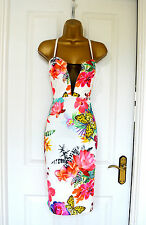 ~SIAN~ White Floral Mesh Midi Bodycon Evening Summer Party Dress 8 10 12 14