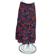 EXPRESS Vtg Cotton Gauze India Pleated Floral Maxi Hippie Festival Skirt sz S