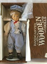 """Tommy"" Timberline Hand Carved/Painted Wooden Boy Doll 15"" 107/600 Stand, Box"