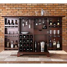 Bar Cabinet Storage Rack Wine Glasses Liquor Bottles Beer Cupboard Living Room